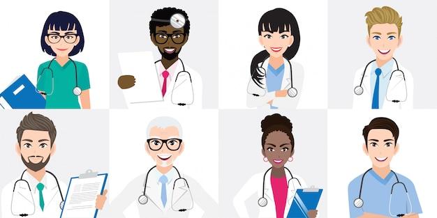 Grupo de médicos y un equipo de enfermeras de pie juntos en diferentes poses. Vector Premium
