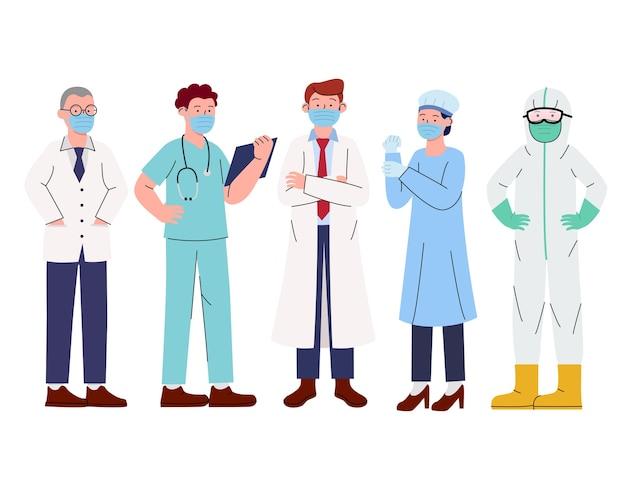 Grupo de médicos del equipo médico con máscaras faciales Vector Premium