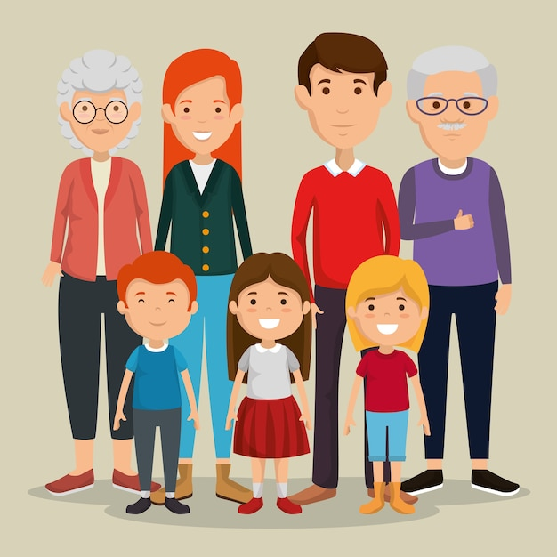Grupo de miembros de la familia avatares personajes Vector Premium