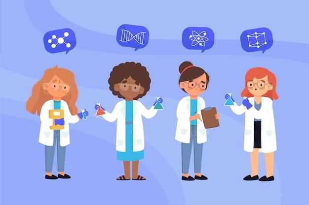 Grupo de mujeres científicas illutration vector gratuito