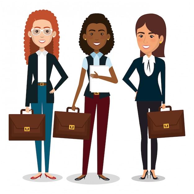 Grupo de mujeres empresarias con ilustración de trabajo en equipo de cartera vector gratuito