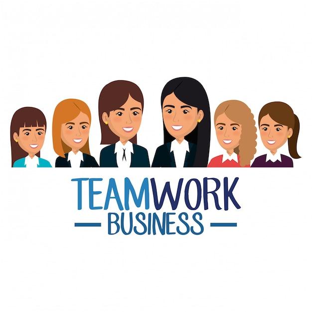 Grupo de mujeres empresarias ilustración de trabajo en equipo vector gratuito