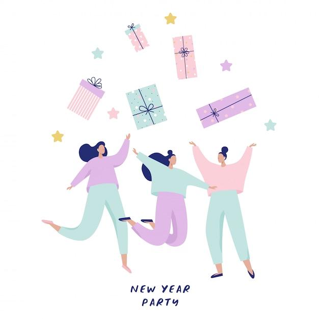 Grupo de mujeres felices saltando y atrapando grandes cajas de regalo. feliz año nuevo ilustración para banner, postales. Vector Premium