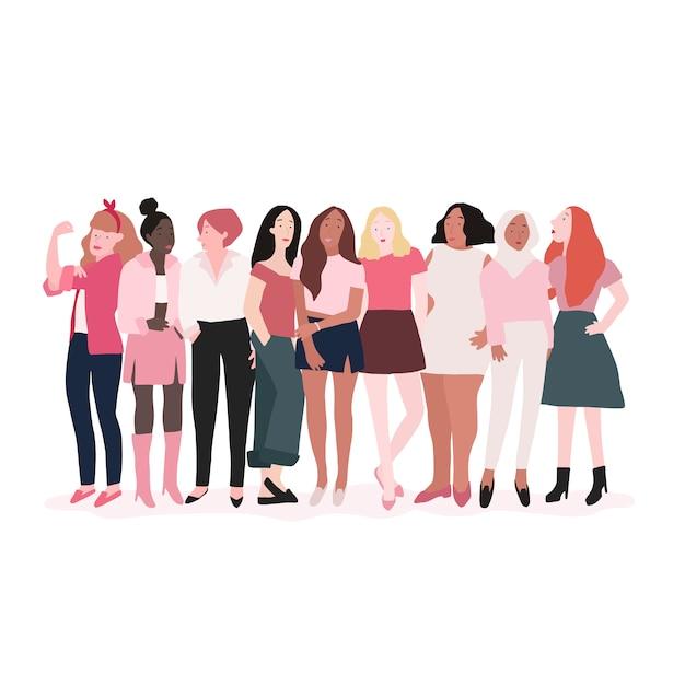 Grupo de mujeres fuertes vector vector gratuito
