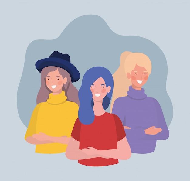 Grupo de mujeres jóvenes de pie personajes vector gratuito