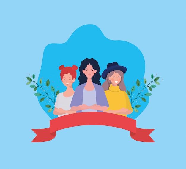 Grupo de mujeres de pie con cinta y hojas vector gratuito