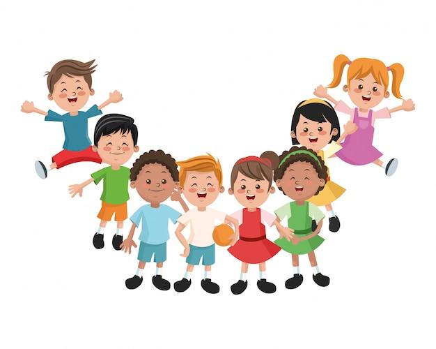 Dibujos Caras De Niños Felices Animadas: Grupo De Niñas Y Niños Felices Dibujos Animados Niños