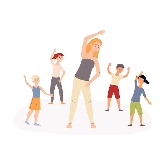 Grupo de niños activos felices de la escuela primaria o jardín de infantes haciendo ejercicios matutinos con su maestro, ilustración sobre fondo blanco. Vector Premium