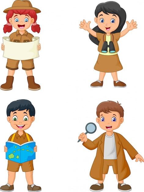 Grupo de niños felices de dibujos animados con trajes de explorador Vector Premium