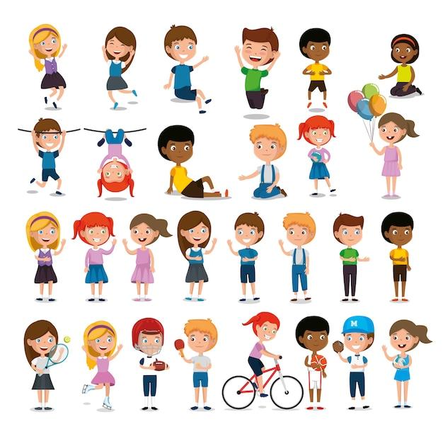 Grupo de niños felices practicando personajes de deportes Vector Premium