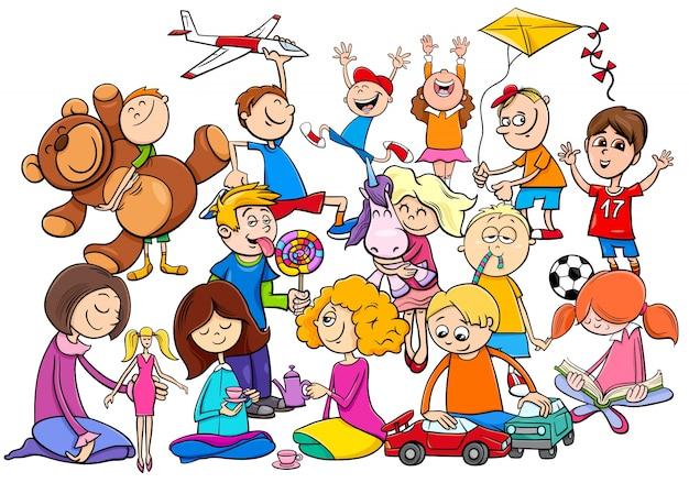 Grupo de niños jugando con juguetes de dibujos animados | Vector ...