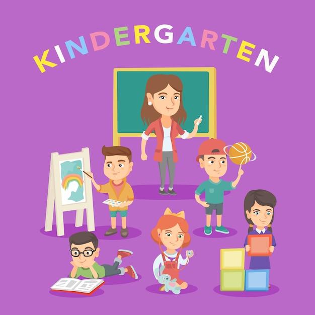 Grupo de niños con maestra en jardín de infantes. Vector Premium