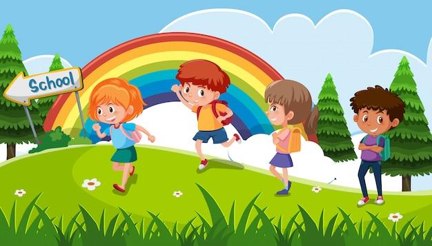 Un Grupo De Niños Yendo A La Escuela Descargar Vectores Premium
