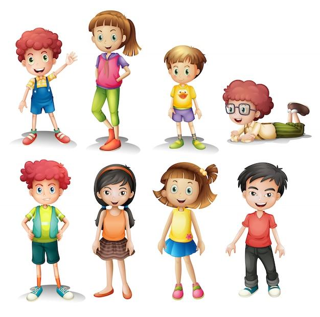 Grupo de niños vector gratuito