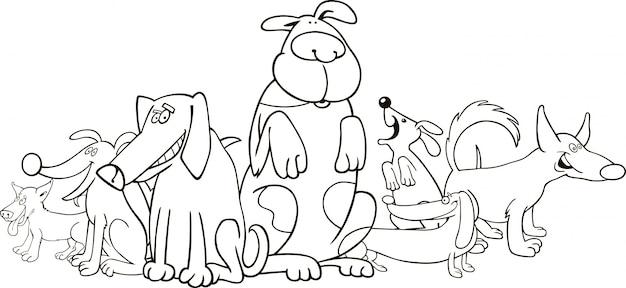 Dibujos Divertidos Para Colorear: Grupo De Perros Divertidos Para Colorear