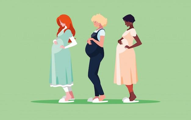 Grupo de personajes de avatar de mujeres embarazadas Vector Premium