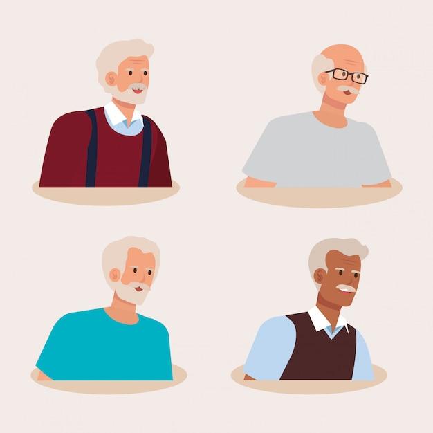 Grupo de personajes de avatar de viejos vector gratuito