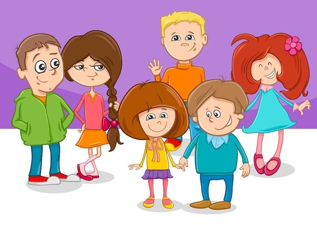 Grupo De Personajes De Dibujos Animados Niños Amigos Descargar