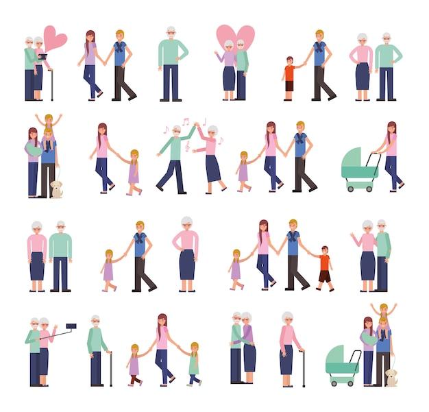 Grupo de personajes familiares vector gratuito
