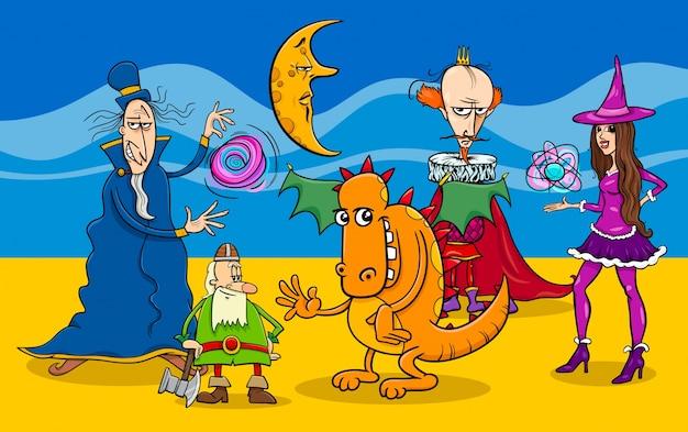Grupo de personajes de fantasía de dibujos animados Vector Premium