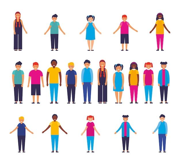 Grupo de personajes interraciales para niños vector gratuito