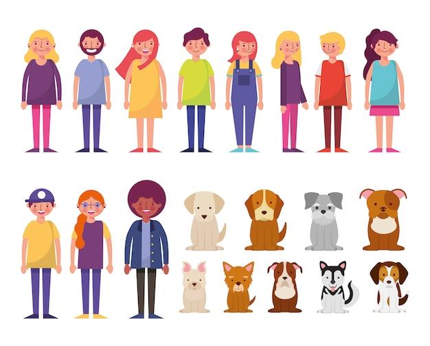 Grupo de personajes jóvenes y perros vector gratuito