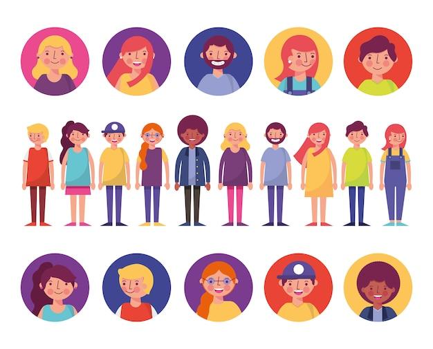 Grupo de personajes jóvenes vector gratuito