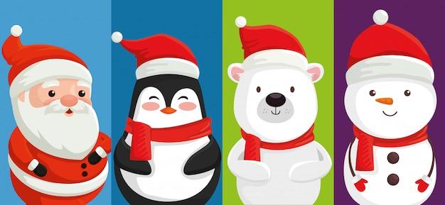 Grupo de personajes lindos navidad Vector Premium
