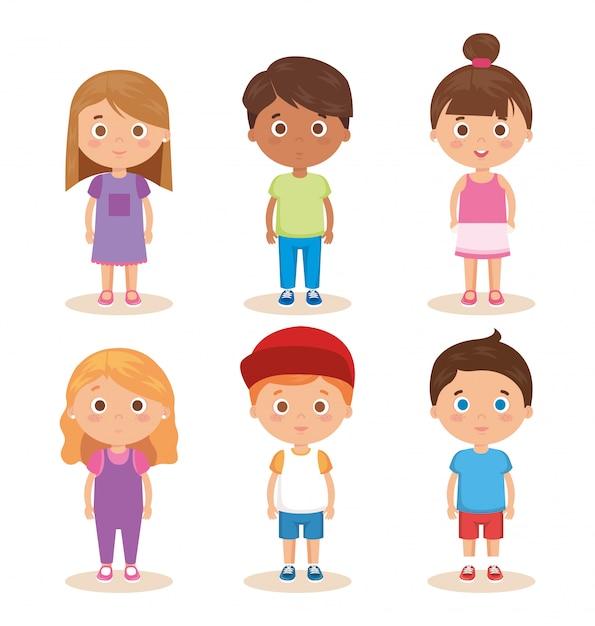 Grupo de personajes de niños pequeños vector gratuito