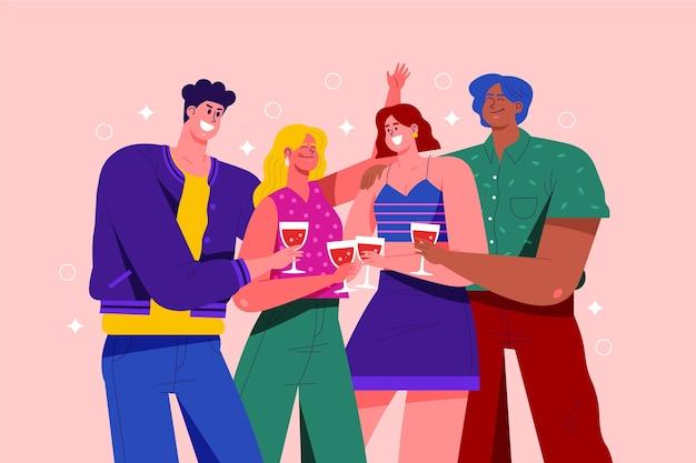 Grupo de personas brindando juntos concepto vector gratuito