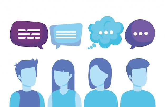 Grupo de personas con burbujas de discurso vector gratuito