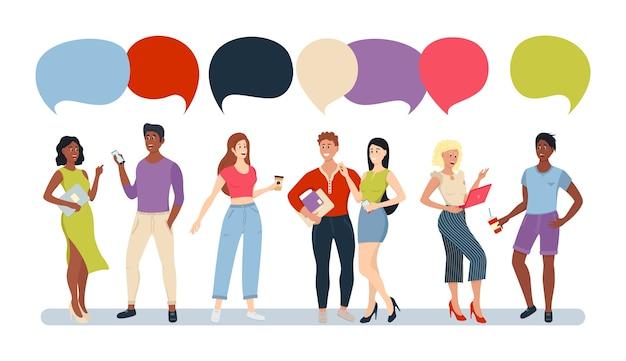 Grupo de personas casuales chat bubble comunicación red social. grupo de personas de dibujos animados hablando con coloridos bocadillos. Vector Premium