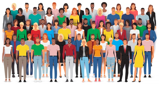Grupo de personas casuales de pie, gran multitud étnica diversa, ilustración Vector Premium