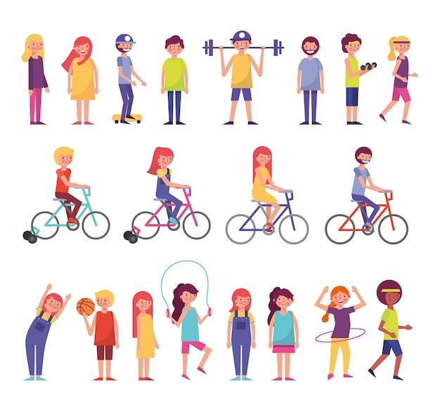 Grupo de personas comunitarias que realizan actividades vector gratuito