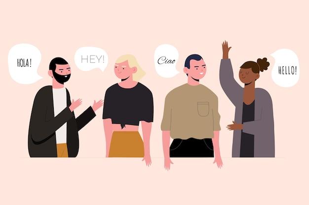 Grupo de personas hablando en diferentes idiomas. vector gratuito
