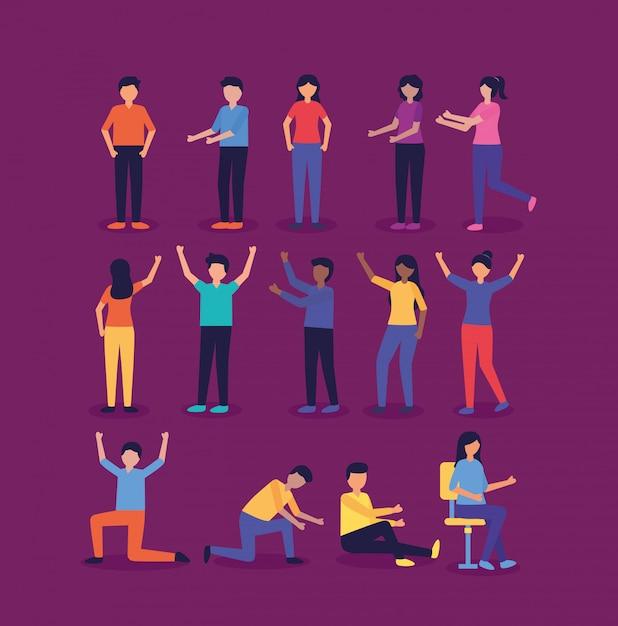 Grupo de personas haciendo gestos vector gratuito