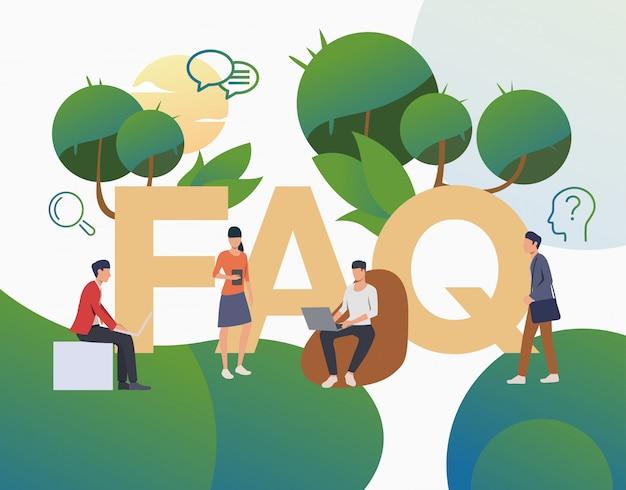 Grupo de personas haciendo preguntas frecuentes página de inicio vector gratuito
