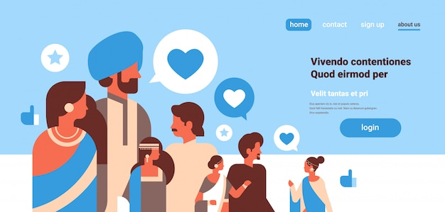 Grupo de personas indias chat de burbuja iconos de redes sociales internet Vector Premium