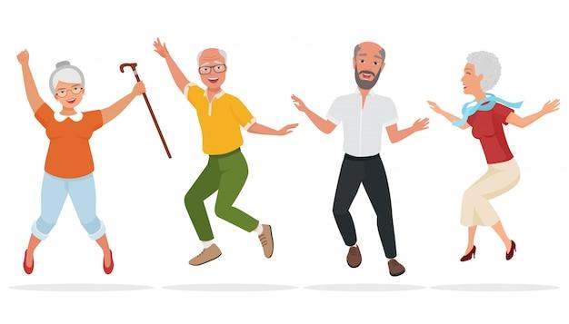 Grupo de personas mayores juntas Vector Premium