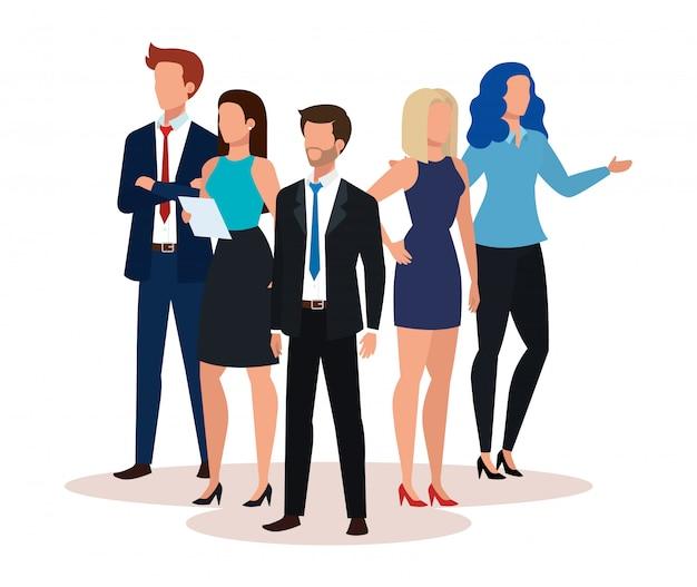 Grupo de personas de negocios avatar personaje vector gratuito