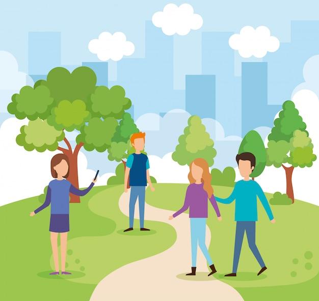 Grupo de personas en el parque vector gratuito