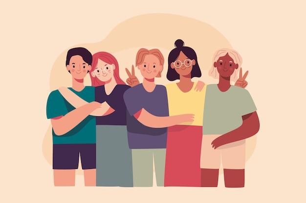 Grupo de personas que comparten recuerdos personales. vector gratuito