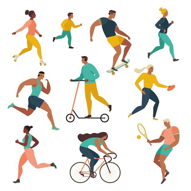 Grupo de personas que realizan actividades deportivas en el parque. Vector Premium