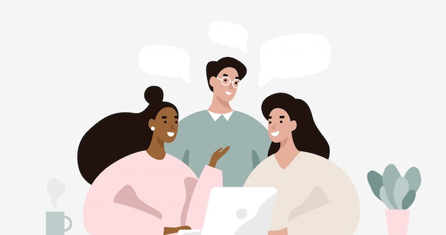 Grupo de personas en reunión de negocios Vector Premium