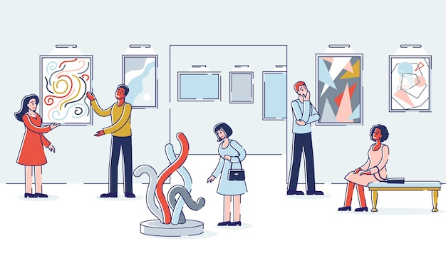 Grupo de personas visita la galería de arte Vector Premium
