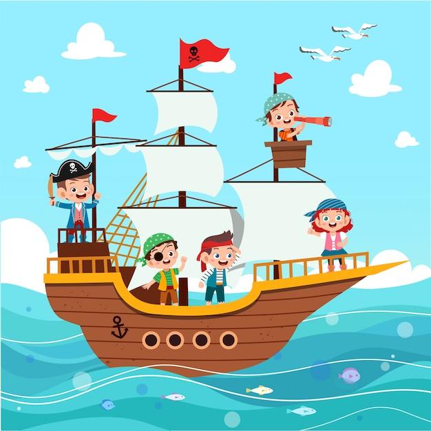 Grupo de piratas de dibujos animados en un barco en el mar Vector Premium