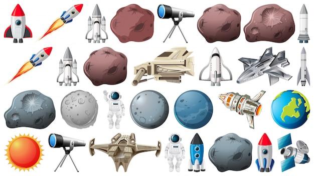 Grupo de planetas y objetos espaciales. vector gratuito