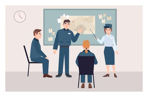 Grupo de policías masculinos y femeninos sentados en sillas y de pie junto al tablero de alfileres. proceso de investigación de delitos, procedimiento de examen de pruebas. personajes de dibujos animados planos. ilustración vectorial Vector Premium