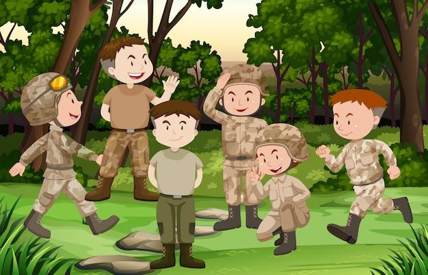 Grupo de soldados en el bosque. vector gratuito