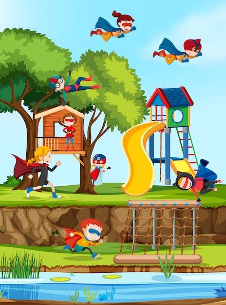 Grupo de superhéroes en el patio de recreo. vector gratuito
